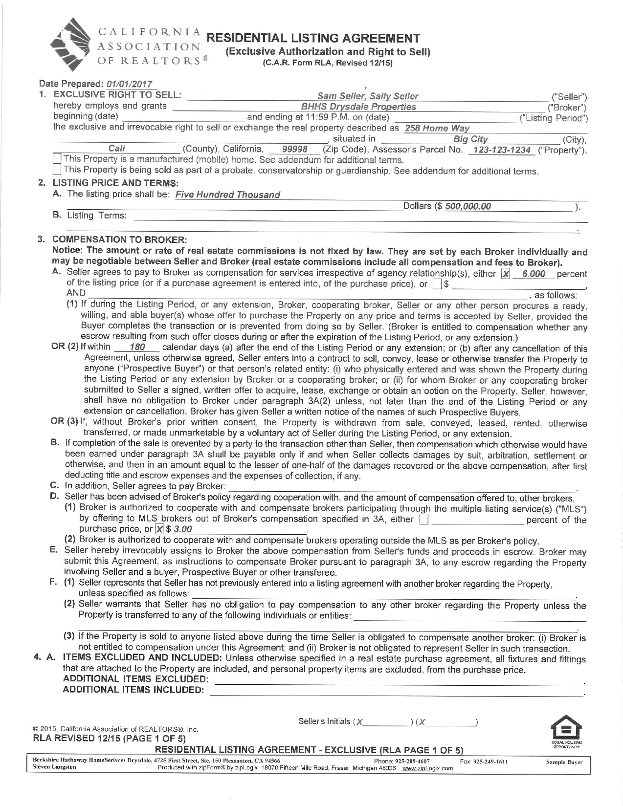Sample of the Residential Listing Agreement